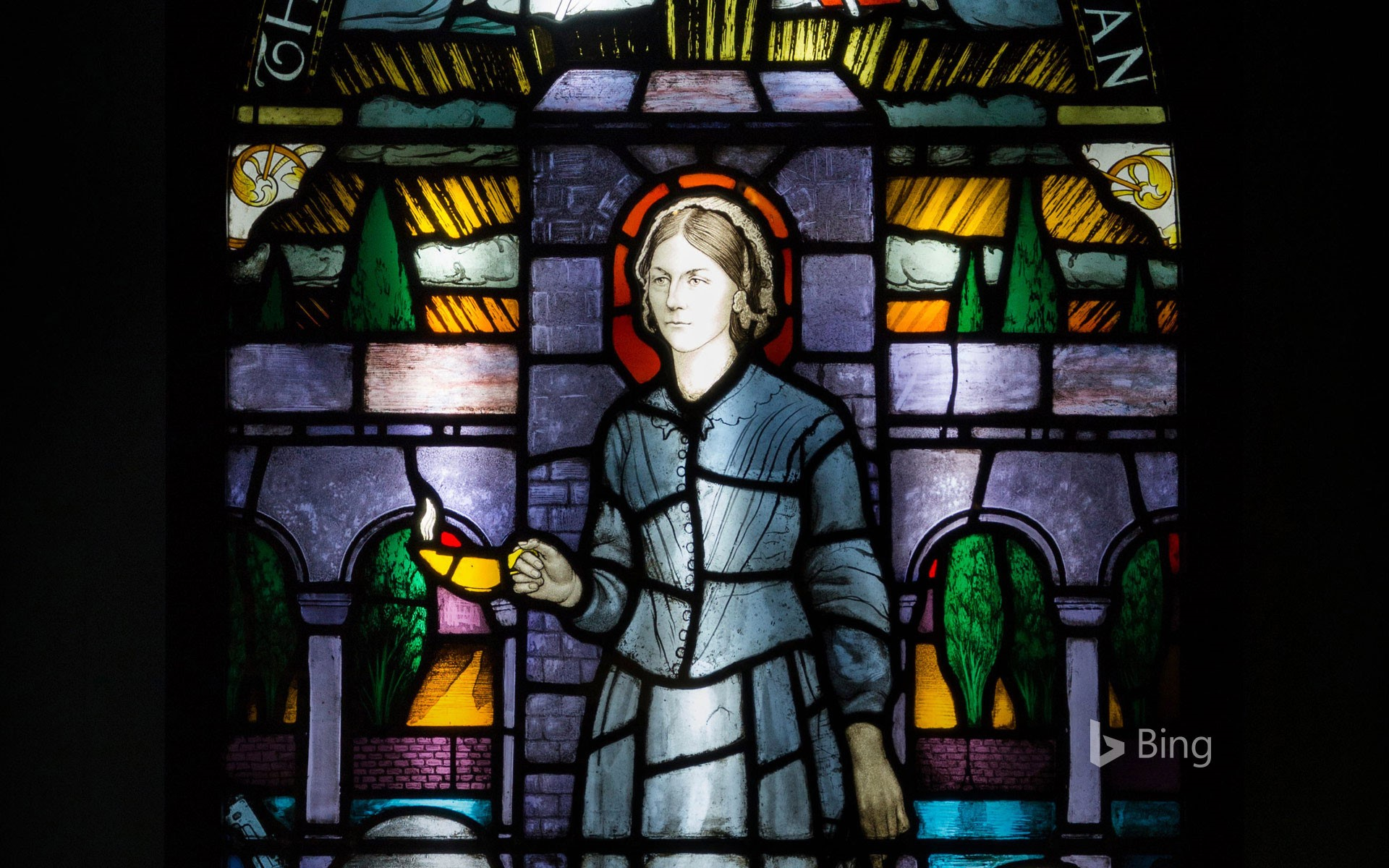 Painted and leaded glass window panel at the Florence Nightingale Museum, London