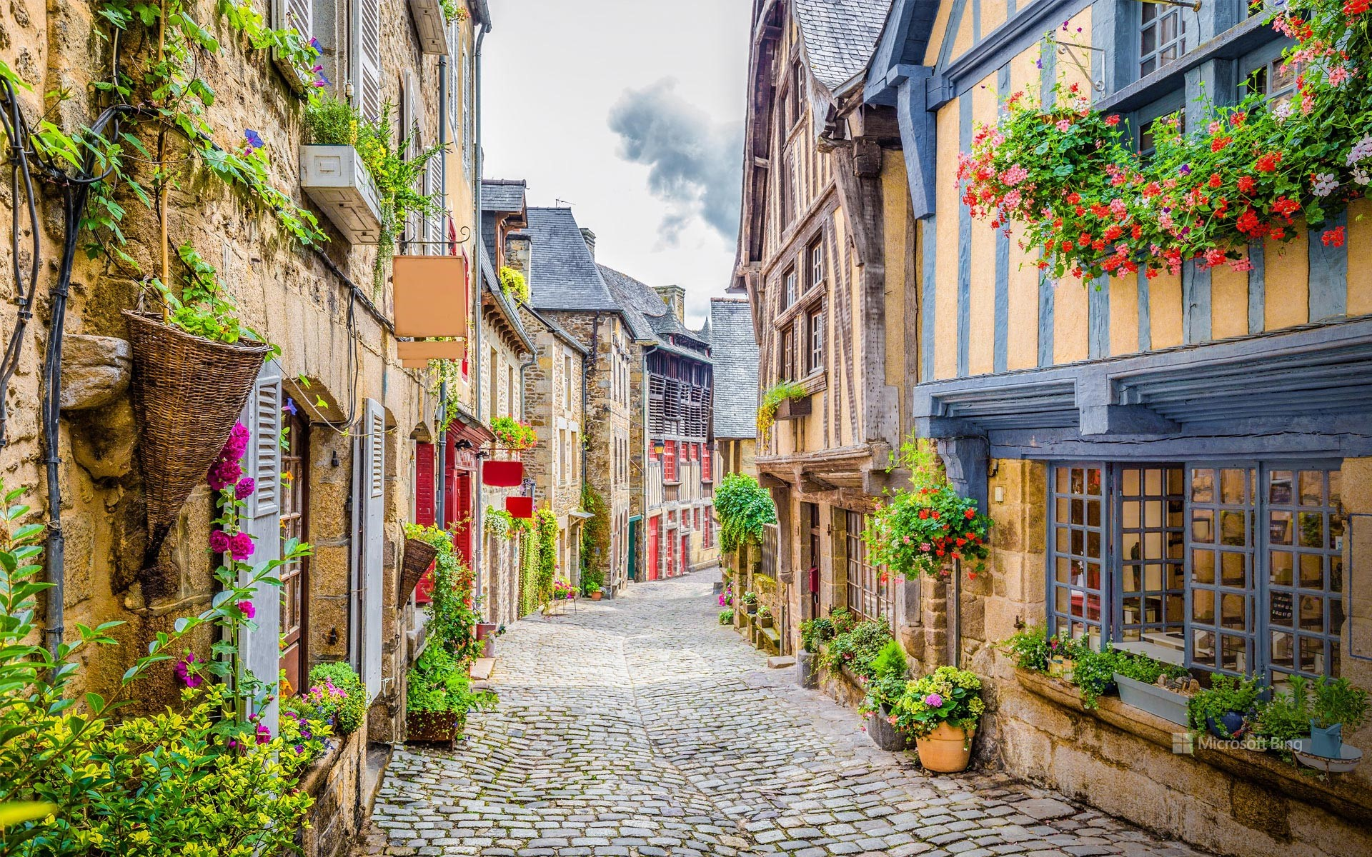 Rue du Petit-Fort and its flowered planters, Dinan, Côtes-d´Armor, Brittany