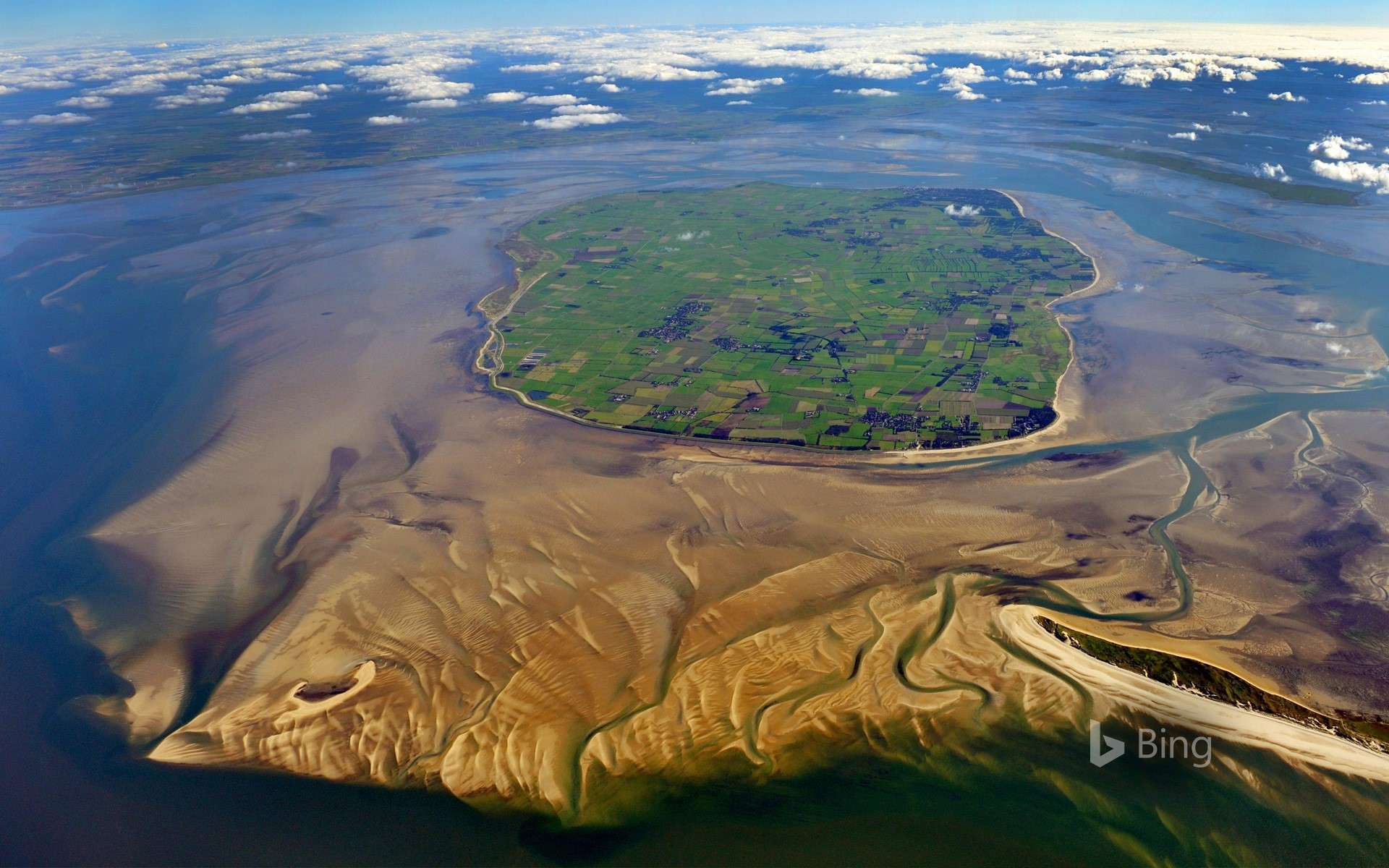 Aerial view of Foehr island, Schleswig-Holstein, Germany