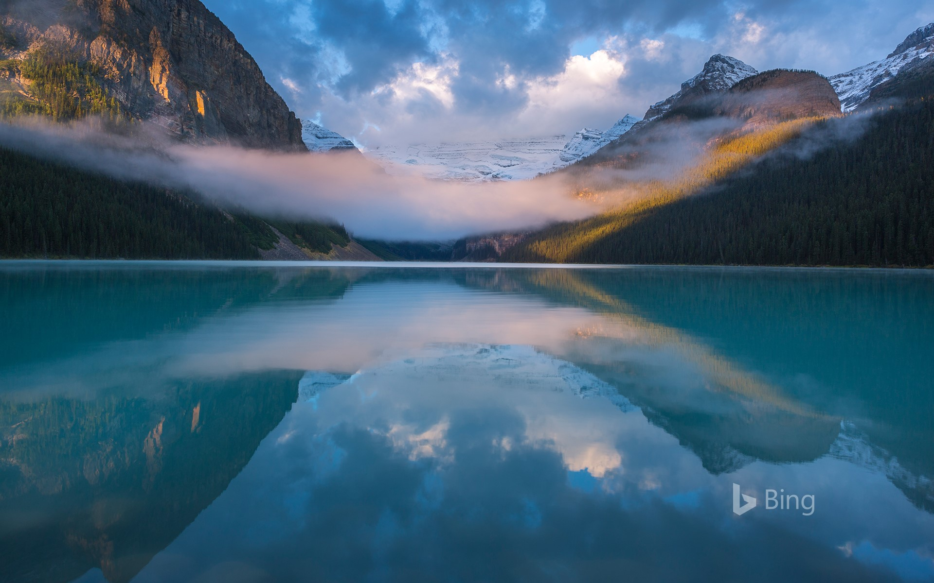 A foggy morning at Lake Louise, Alberta, Canada