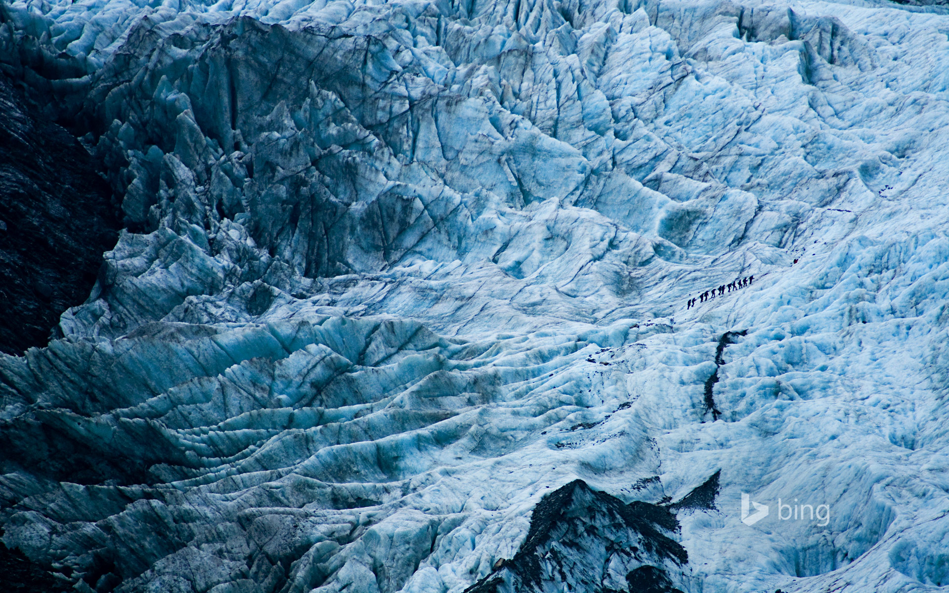 Hikers on Franz Josef Glacier, New Zealand