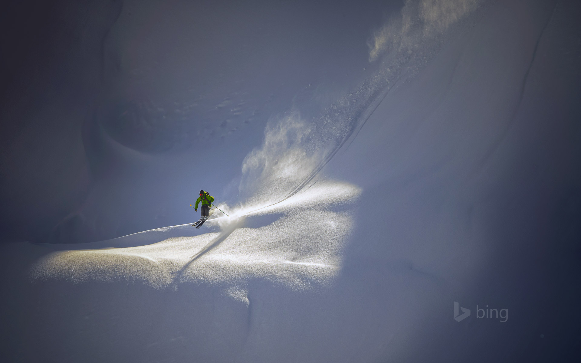 Backcountry skier near Mt. Baker Ski Area, North Cascades National Park, Washington