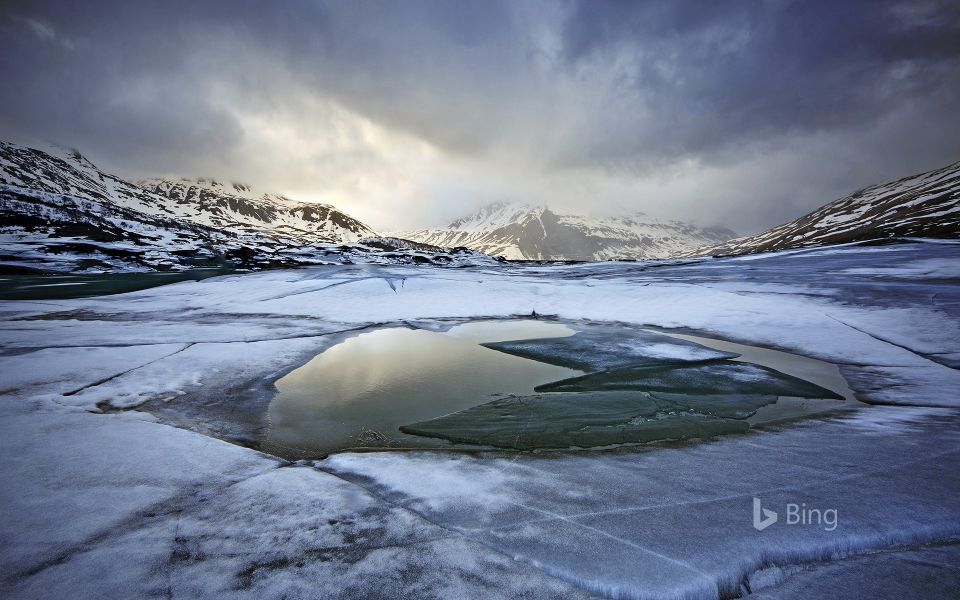 Ice on Mont Cenis Lake, France