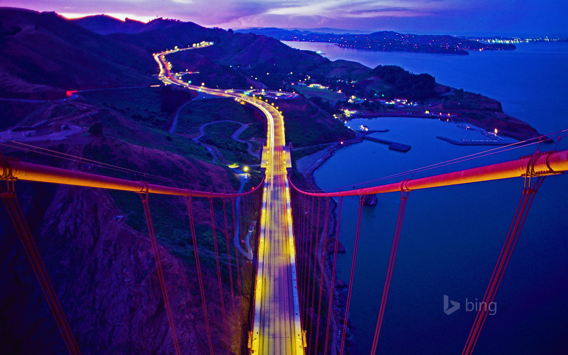 Golden Gate Bridge connecting to Marin County, California