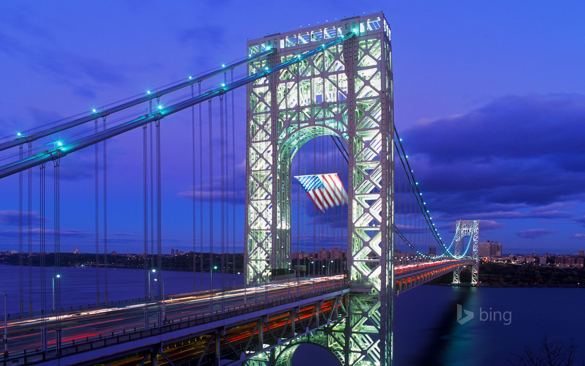 Old Glory flies over George Washington Bridge in New York City