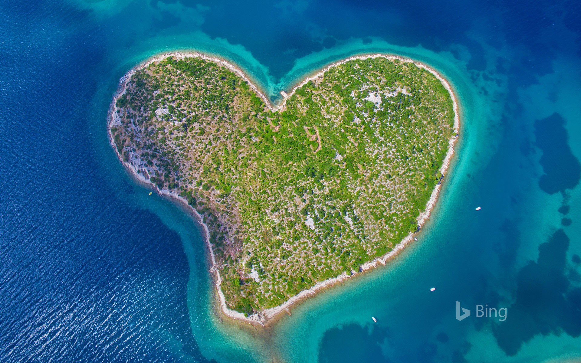 Aerial view of Galešnjak Island on the Adriatic coast of Croatia