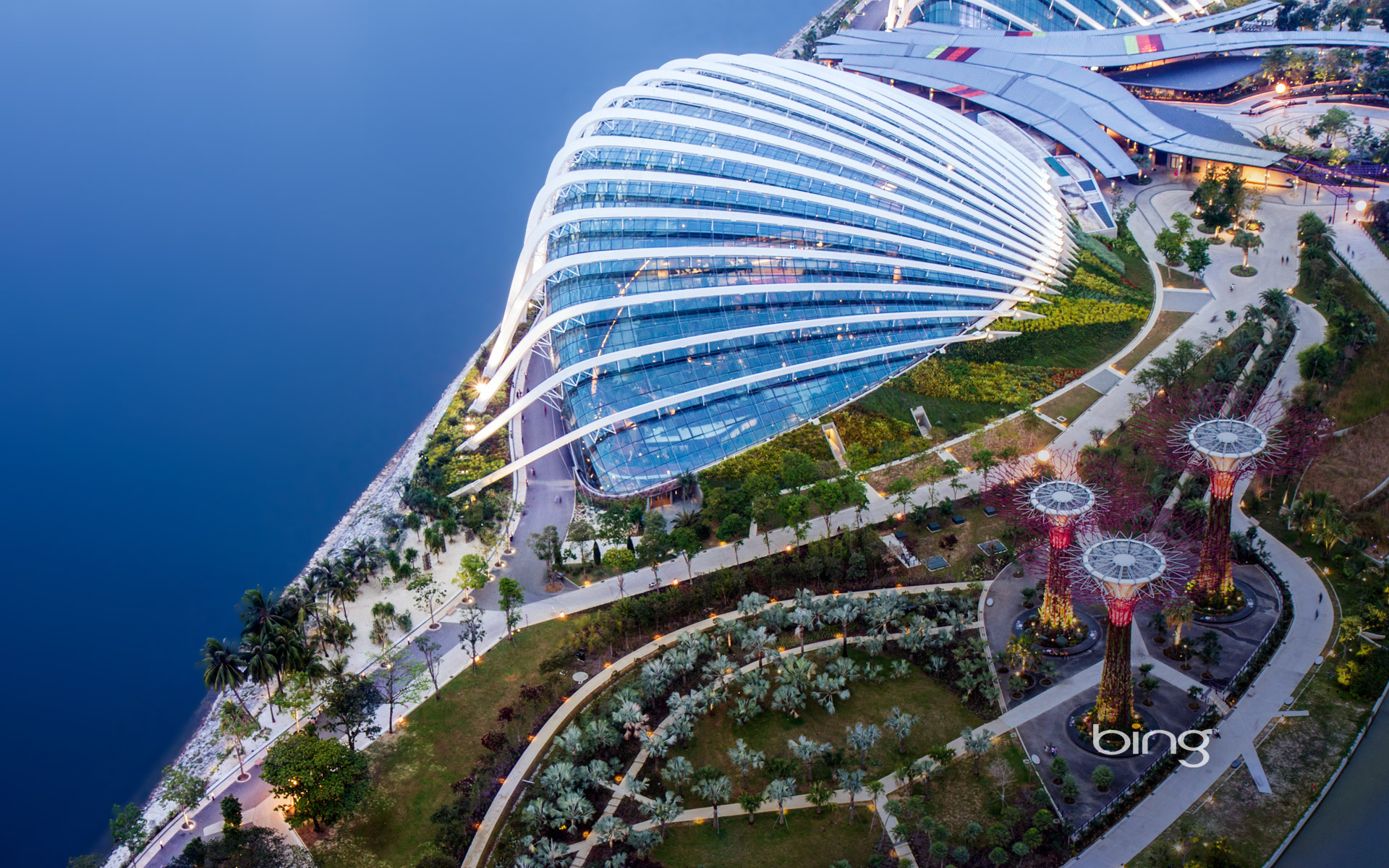 Aerial view of Gardens by the Bay and the Supertrees Grove, Singapore City, Singapore