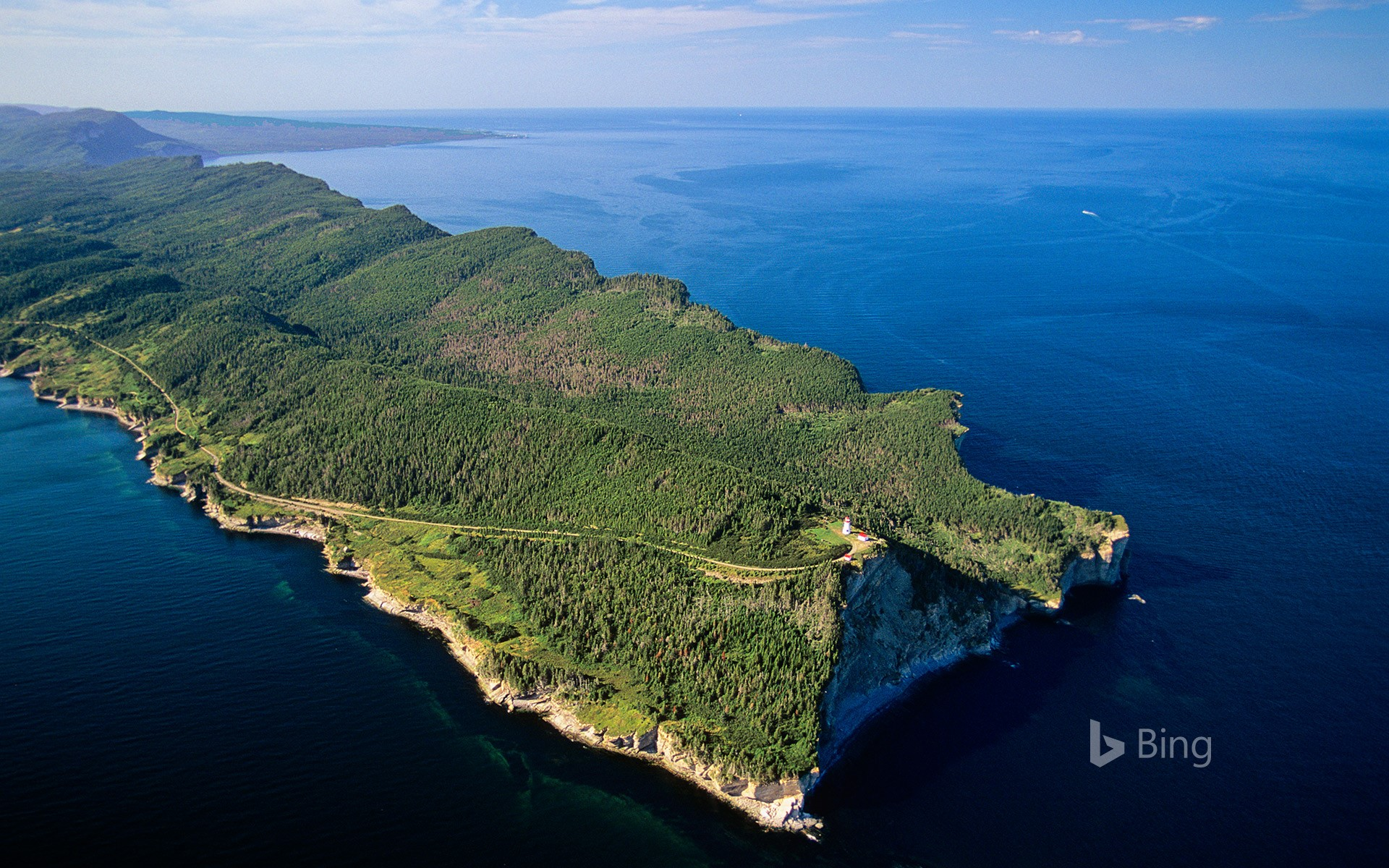 Aerial view of the Gaspé Peninsula, Forillon National Park, Quebec, Canada