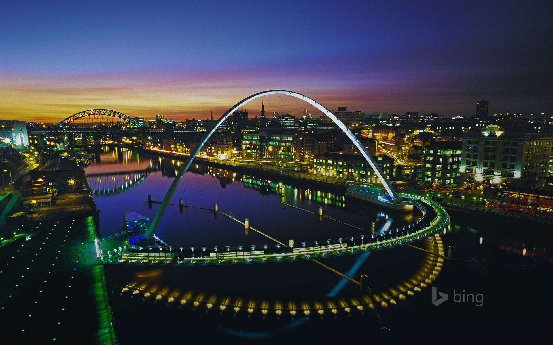 Gateshead Millennium Bridge in Newcastle upon Tyne, England