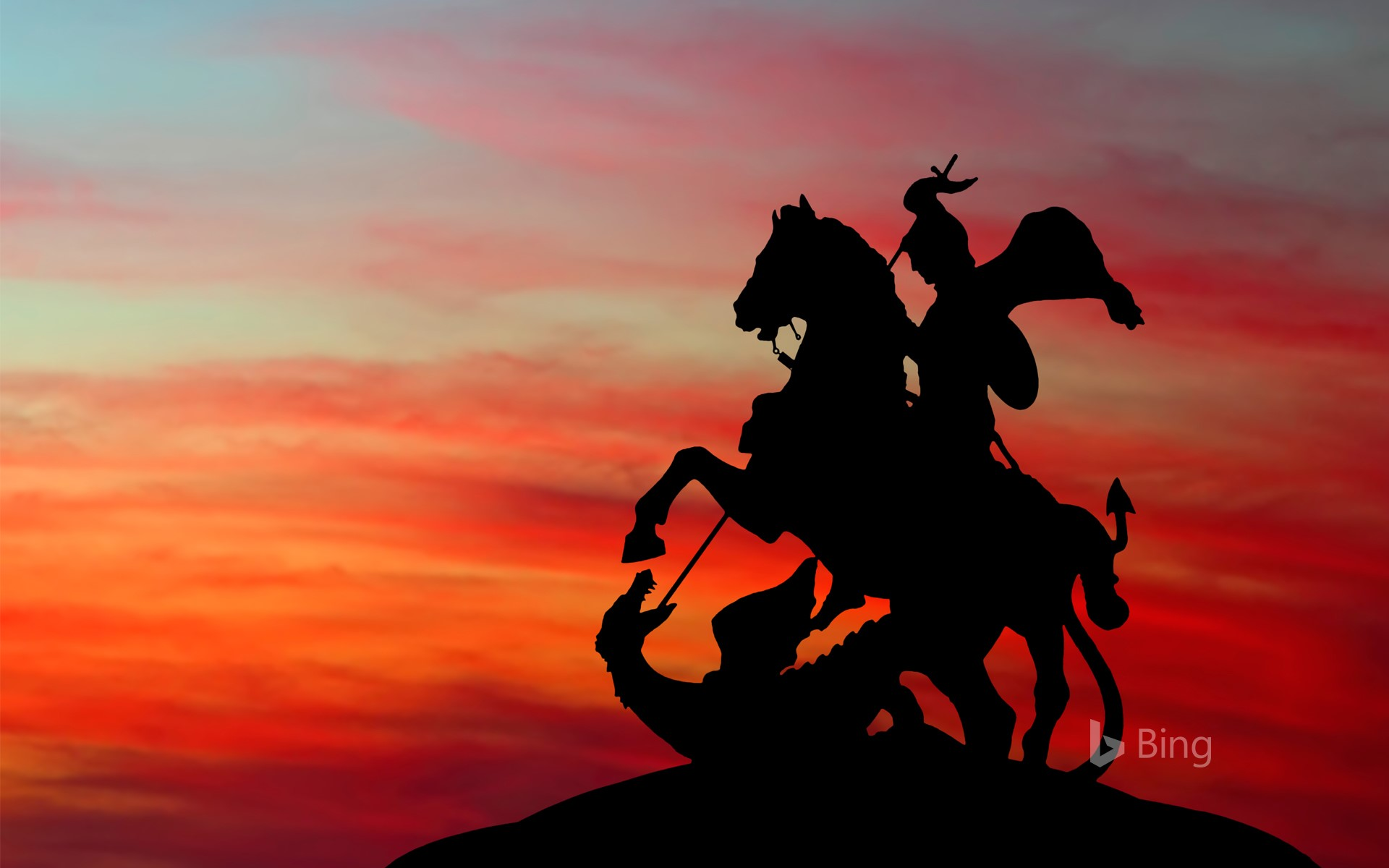 Monument to St George and the Dragon at sunset, Moscow, Russia