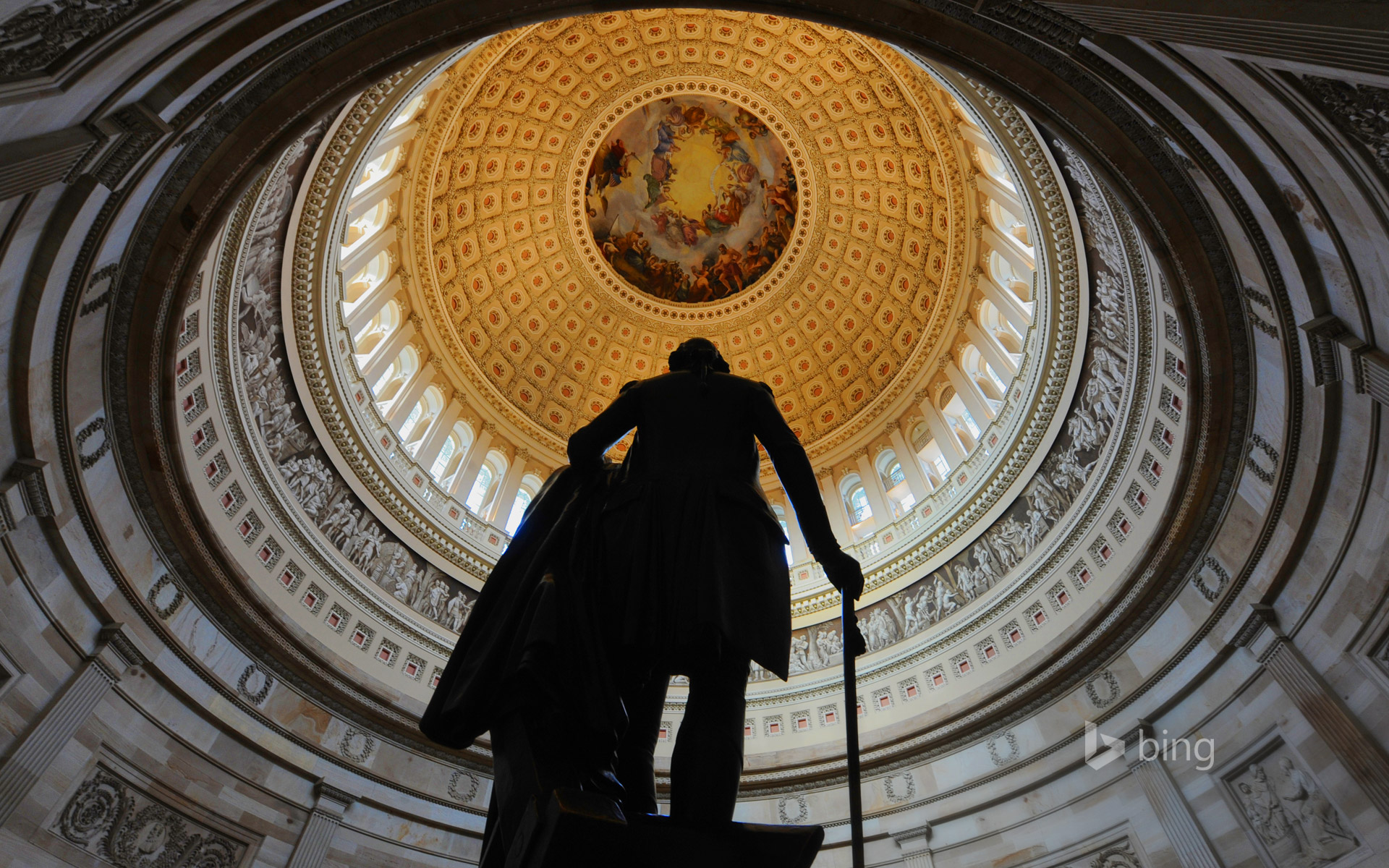 Bronze statue of George Washington in the Capitol rotunda in Washington, DC