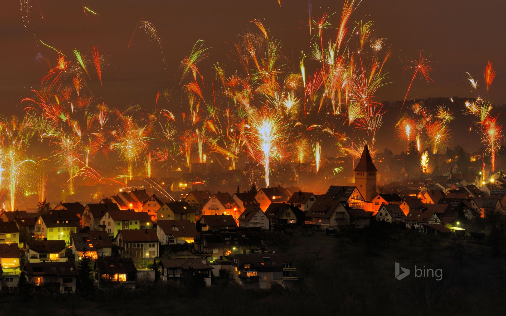 New Year's Eve fireworks in Korb, Rems-Murr-Kreis, Germany