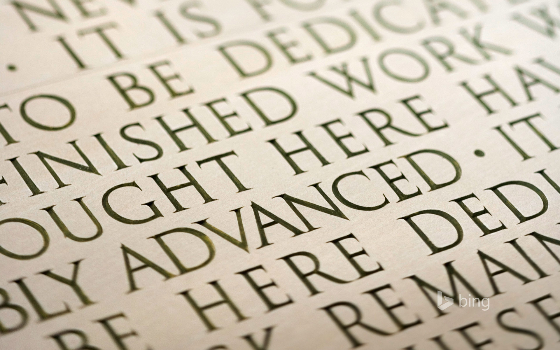 Engraving of the Gettysburg Address at the Lincoln Memorial, Washington, D.C.
