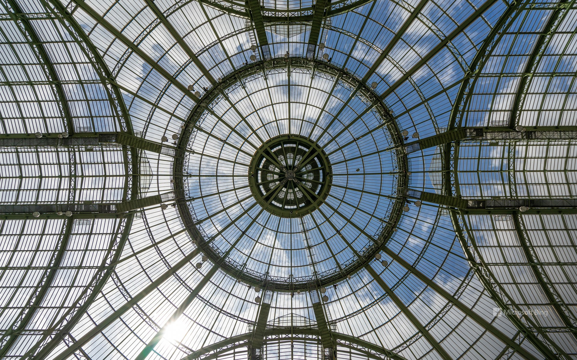 Vaulted ceiling of the Grand Palais in glass and steel, Paris
