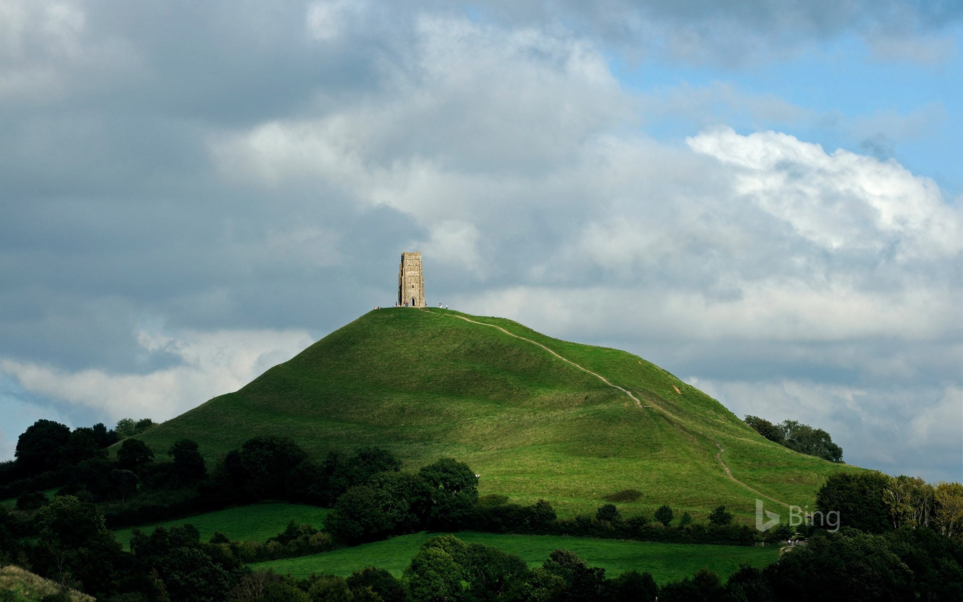 Glastonbury Tor and St Michael's Tower, England