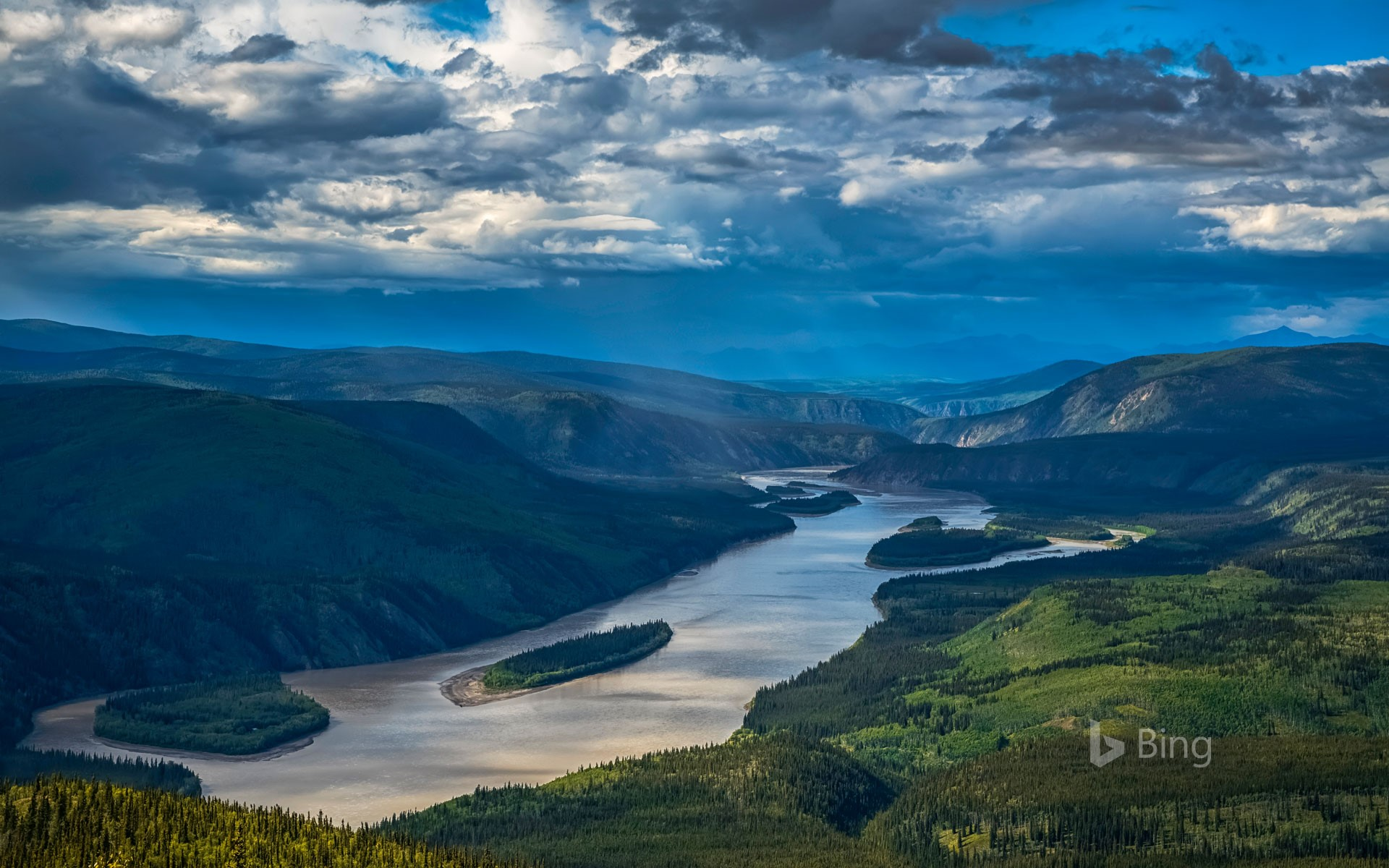 Yukon River viewed from the Midnight Dome, Dawson City, Yukon, Canada