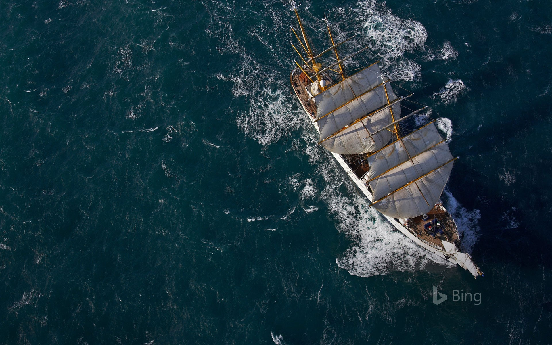 German navy tall ship Gorch Fock in waters close to Reykjavík, Iceland