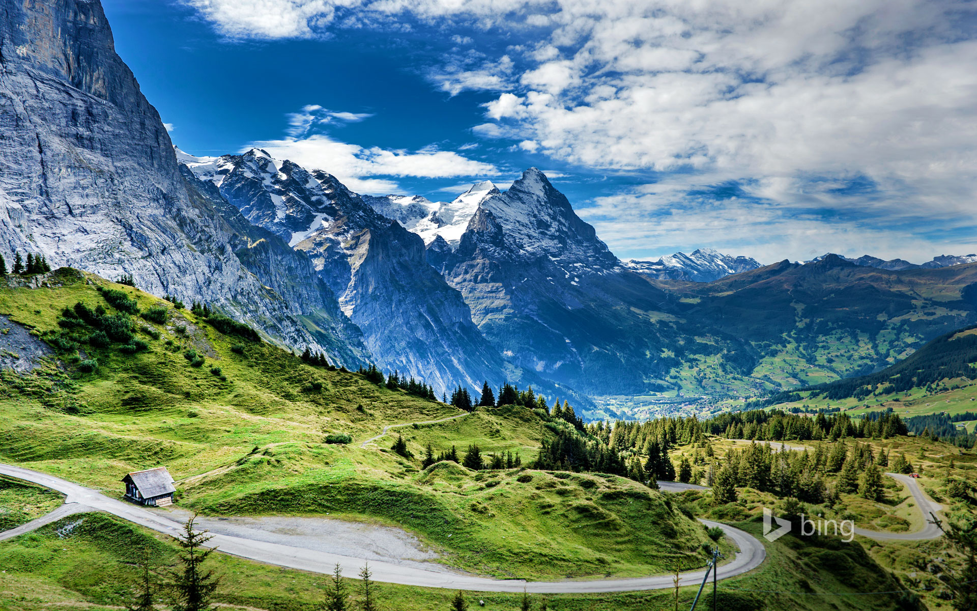 View of the Eiger from the Grosse Scheidegg mountain pass, Switzerland