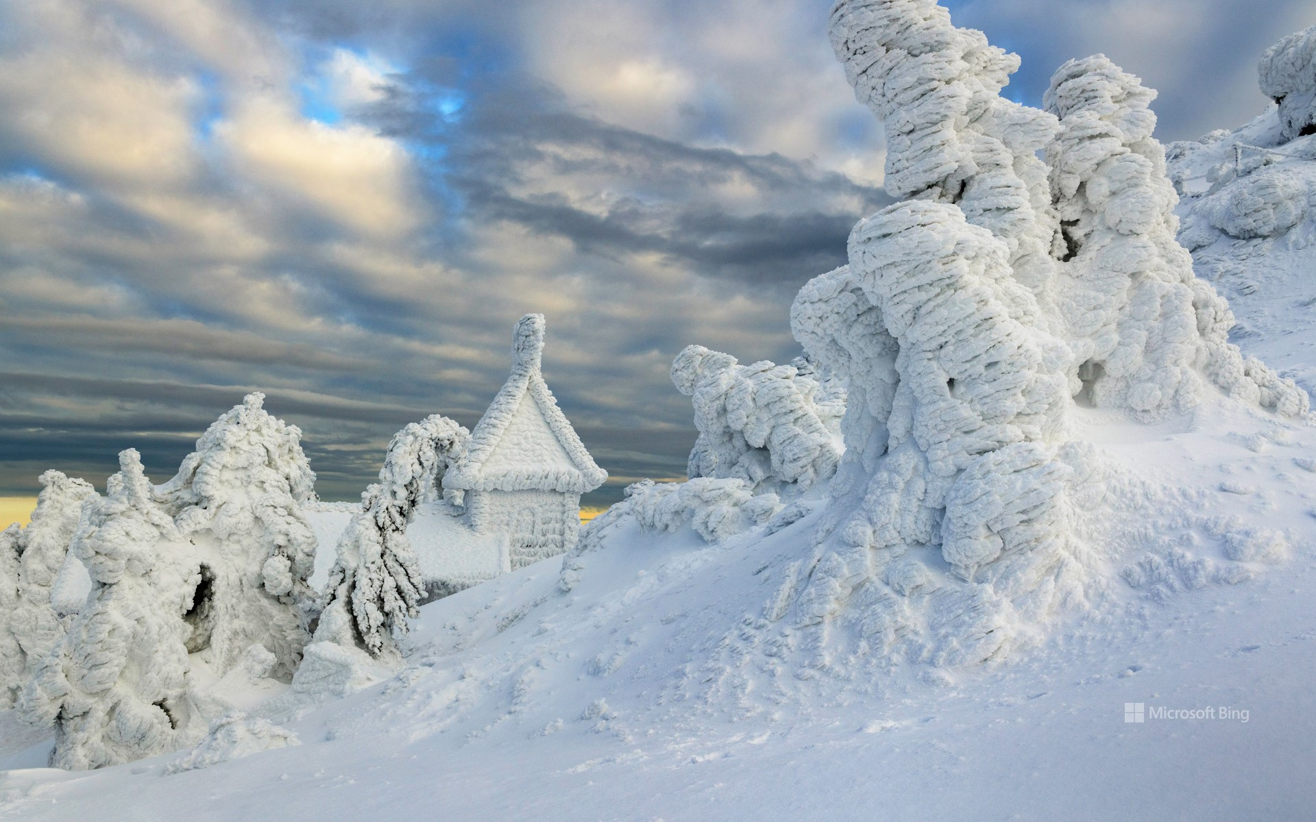 Snowed in Arber Chapel on the Großer Arber, Lower Bavaria, Bavaria