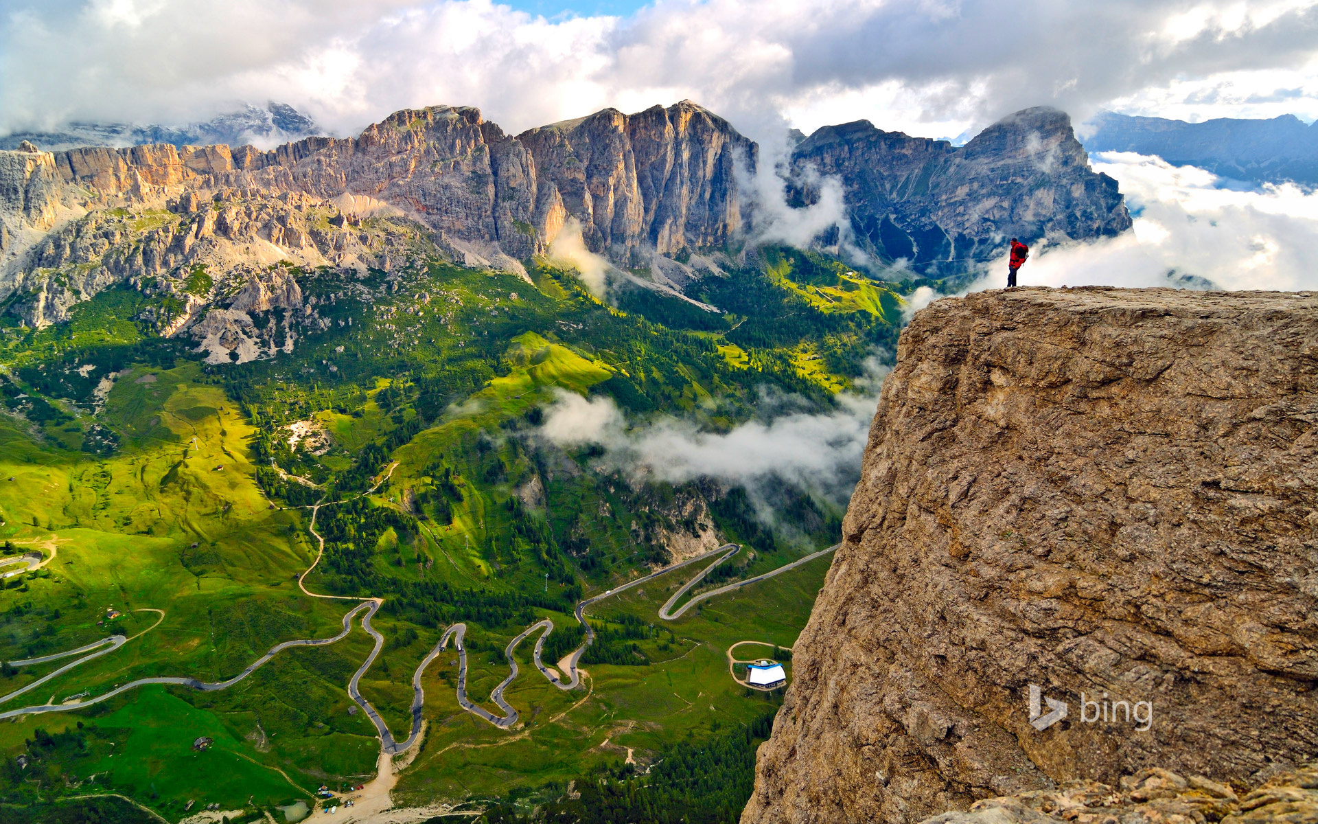 Trekker on the Sella Group mountain chain, Dolomites, South Tyrol, Italy