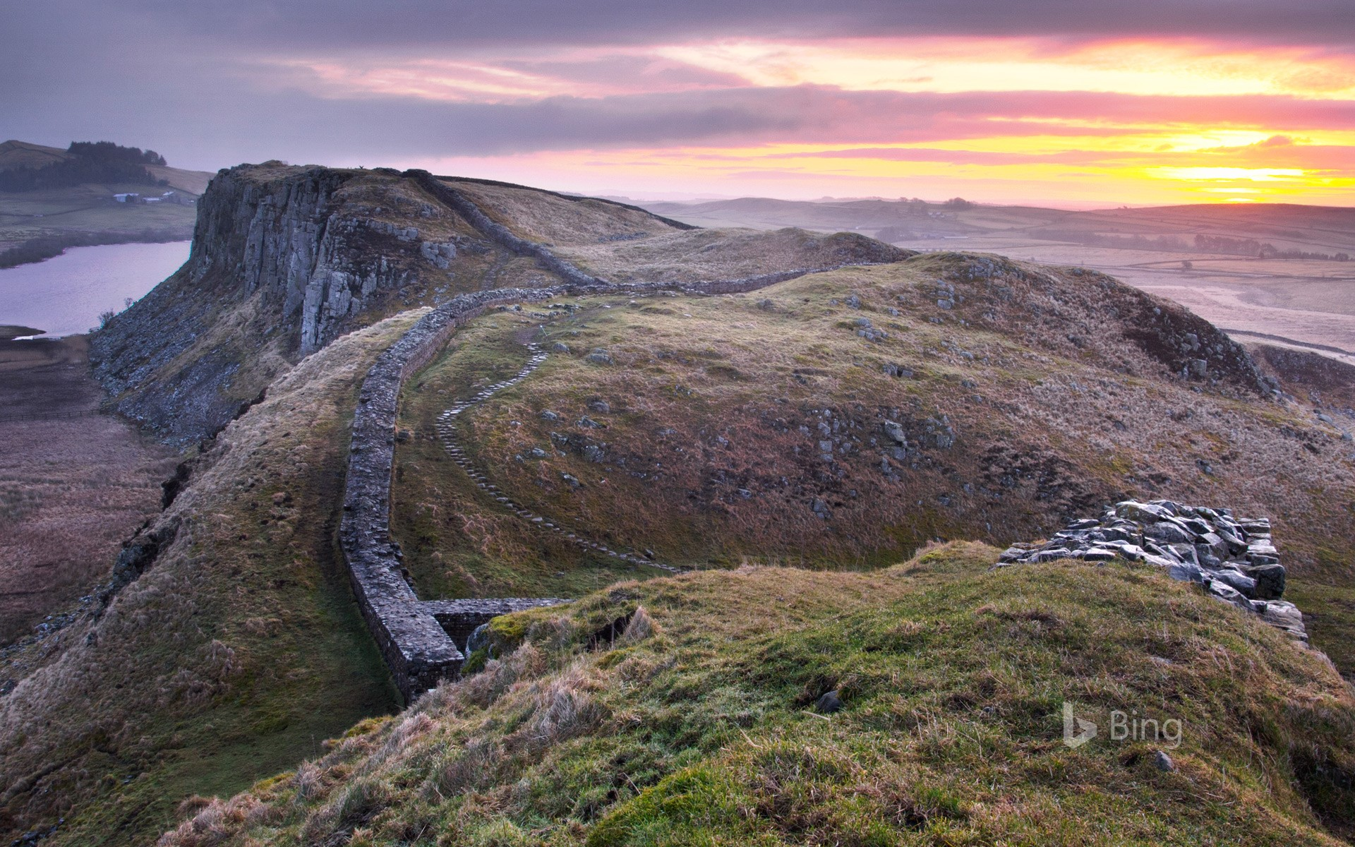 Sunrise over Hadrian's Wall at Steel Rigg in Northumberland, England