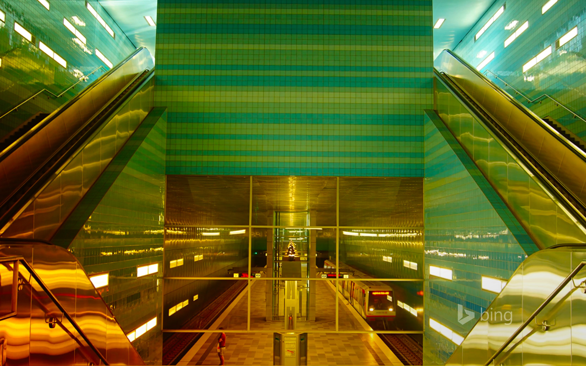 Überseequartier U-Bahn station in HafenCity, Hamburg, Germany