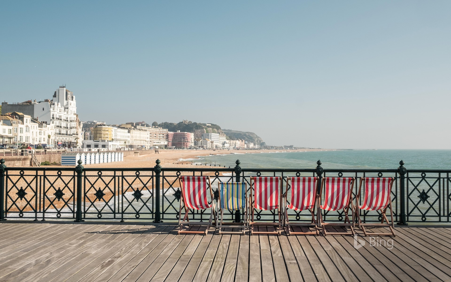 Deckchairs on Hastings Pier, East Sussex, England