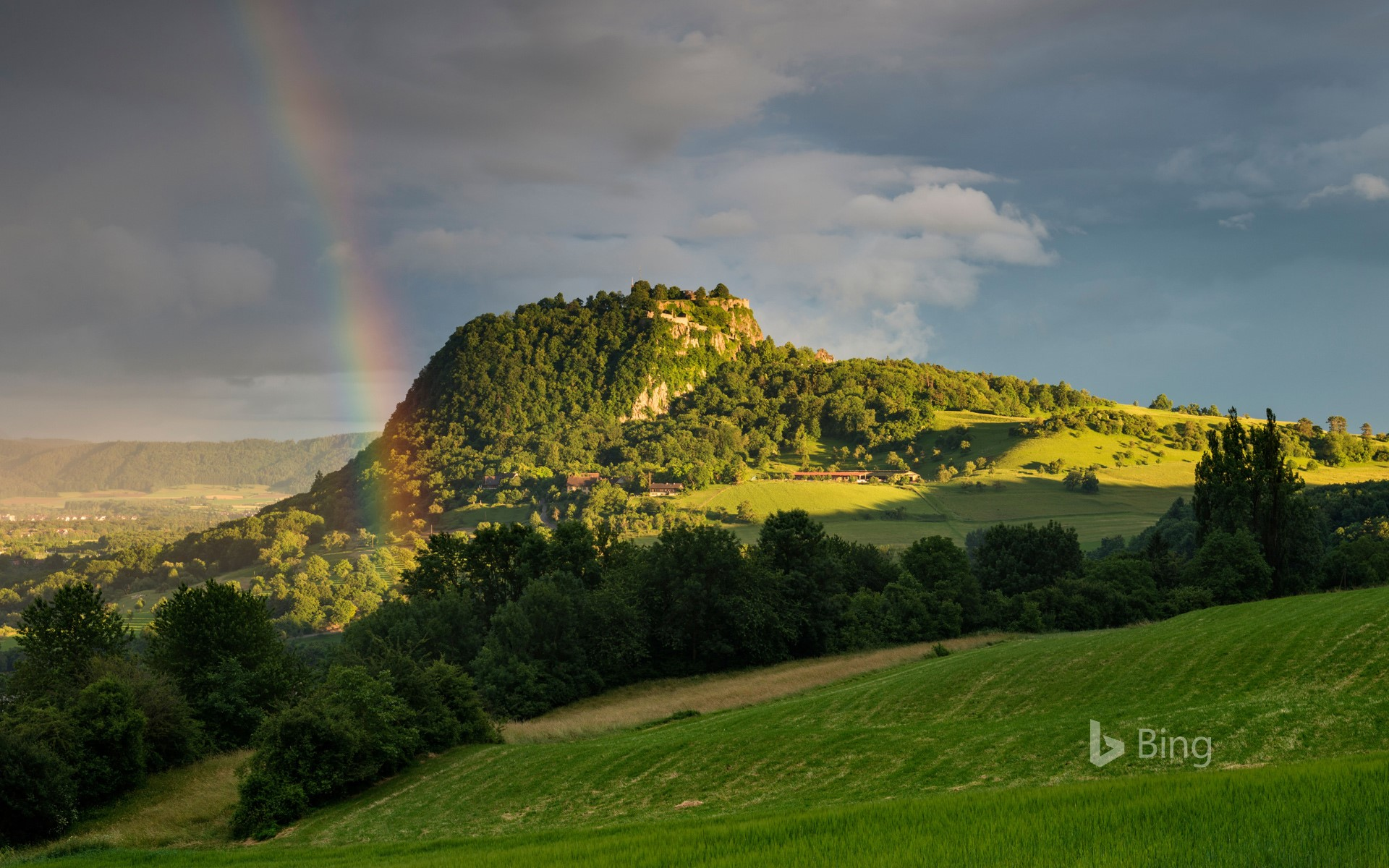 View of the Hohentwiel in the Hegau with rainbow, Baden-Württemberg