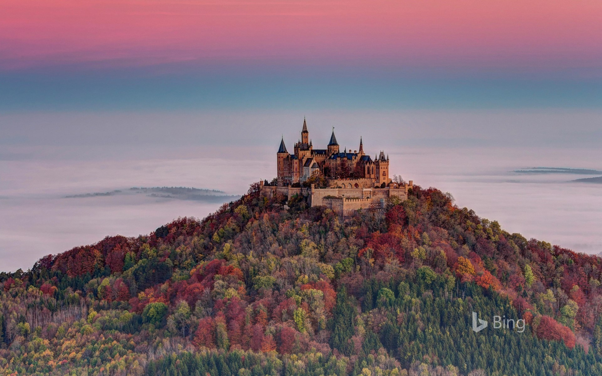 View from the Zeller Horn to Hohenzollern Castle, Baden-Wuerttemberg