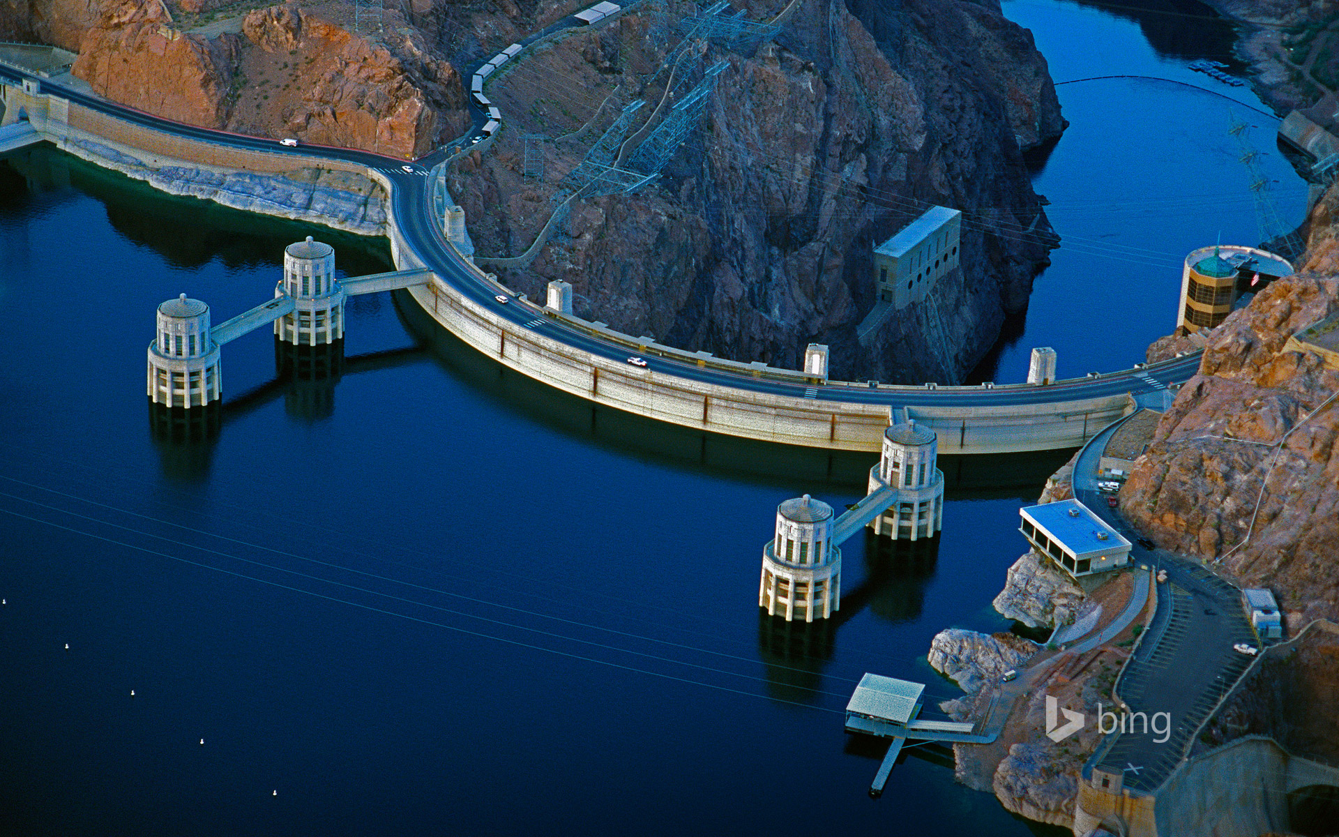 Hoover Dam on the border between Arizona and Nevada