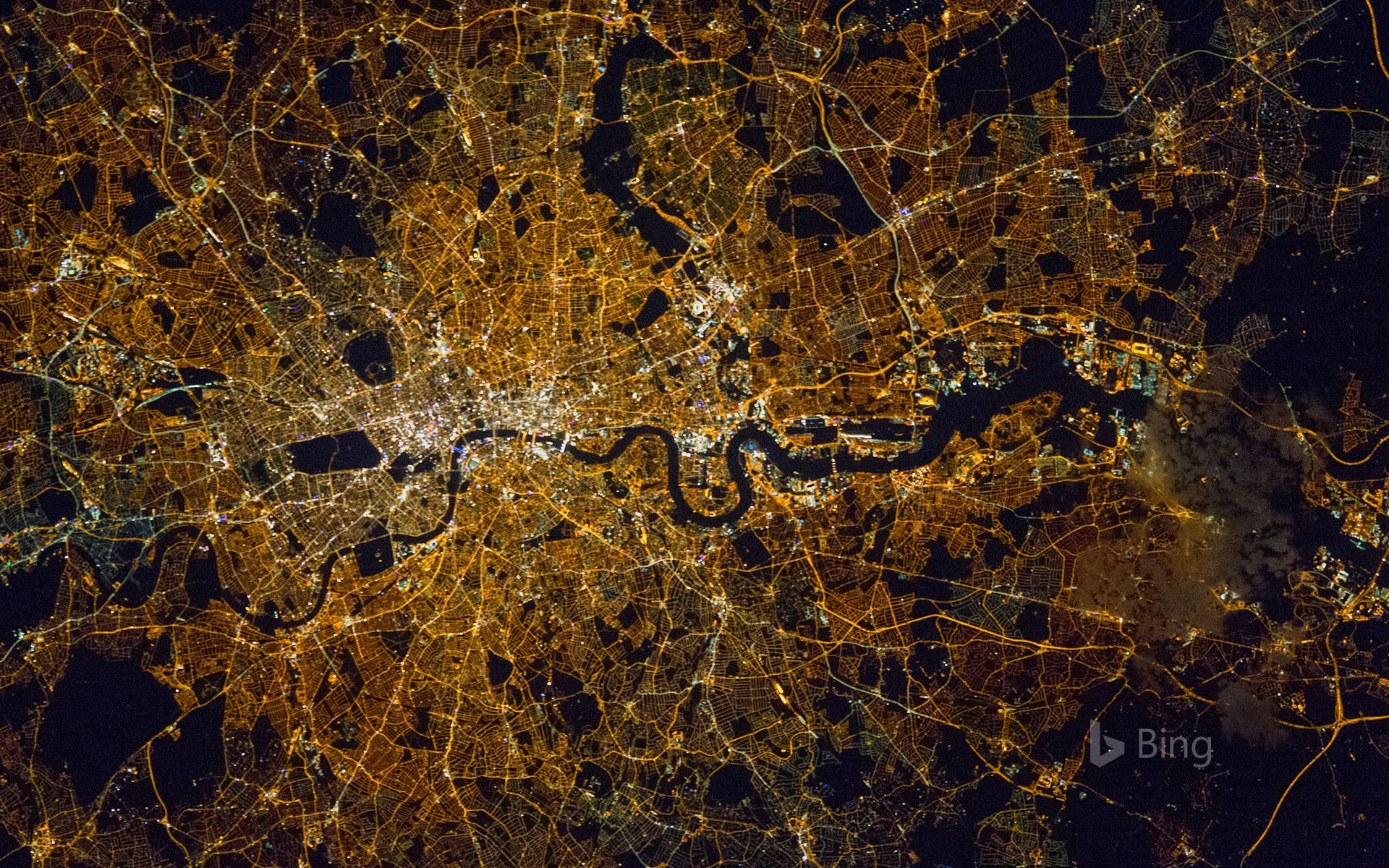 London and surroundings photographed from the International Space Station