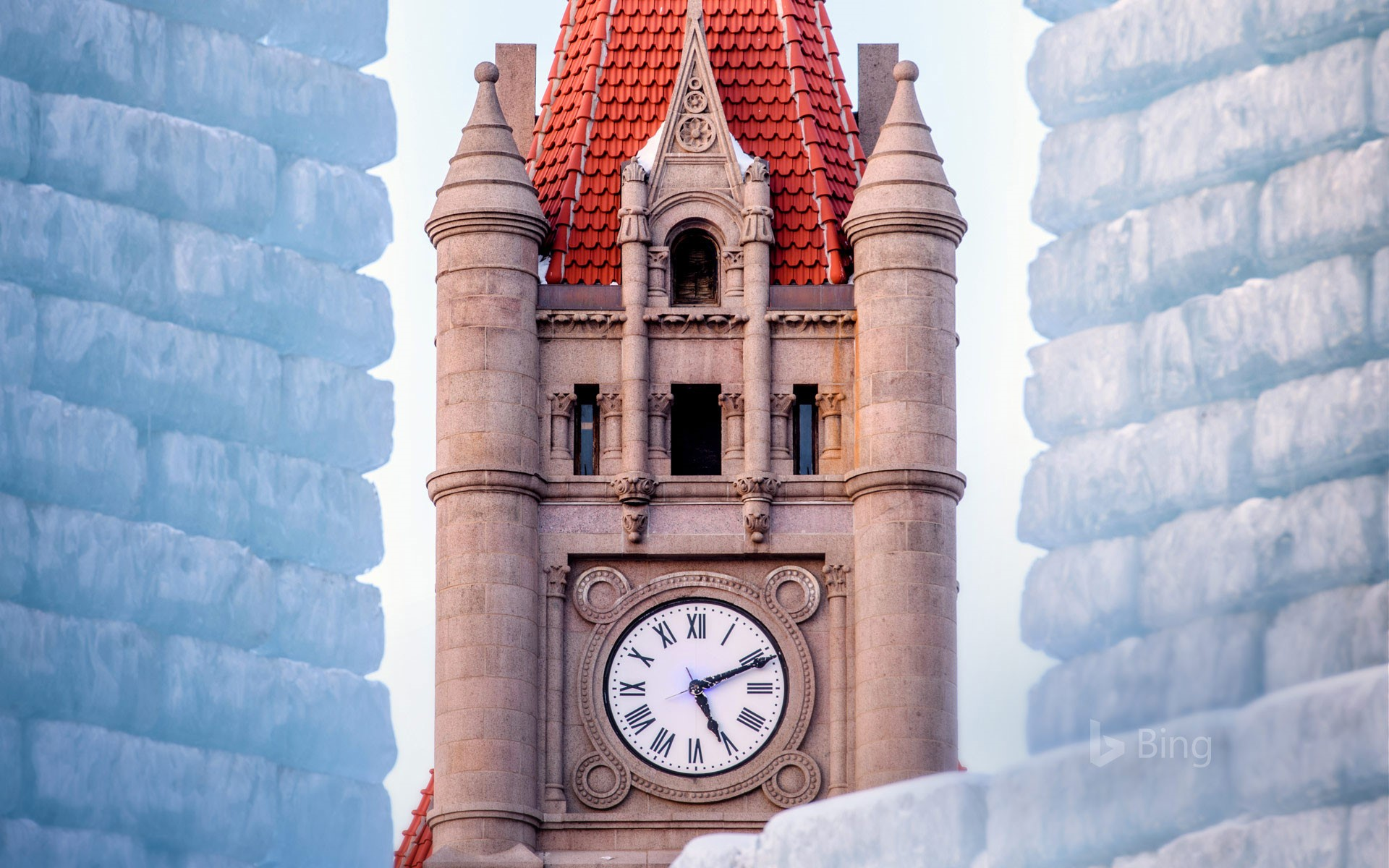 Landmark Center clock tower and Winter Carnival Ice Palace in St. Paul, Minnesota