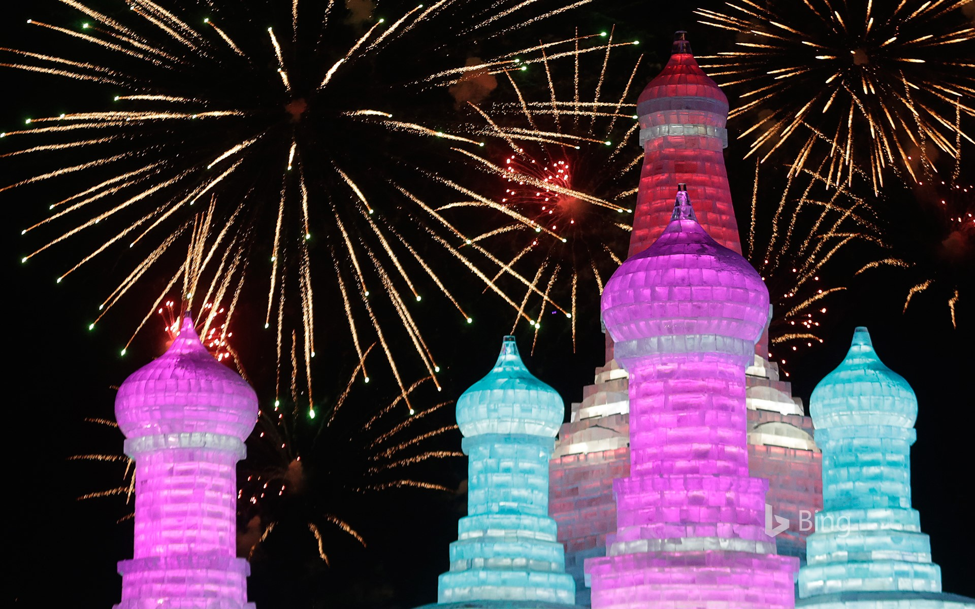 [Great Cold Today] Fireworks in full bloom at Harbin International Snow and Ice Festival, Harbin, Heilongjiang