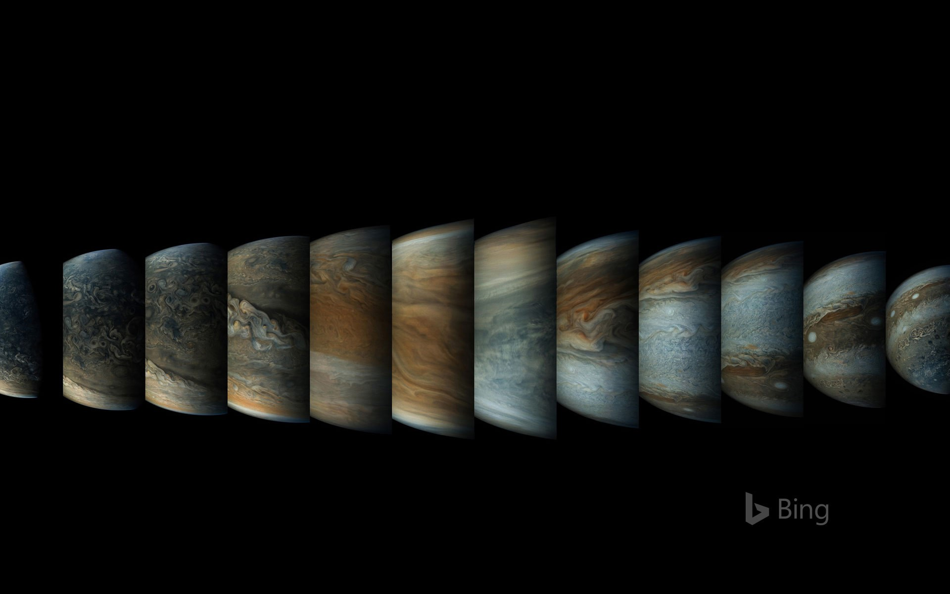 Sequence of enhanced-color images of Jupiter