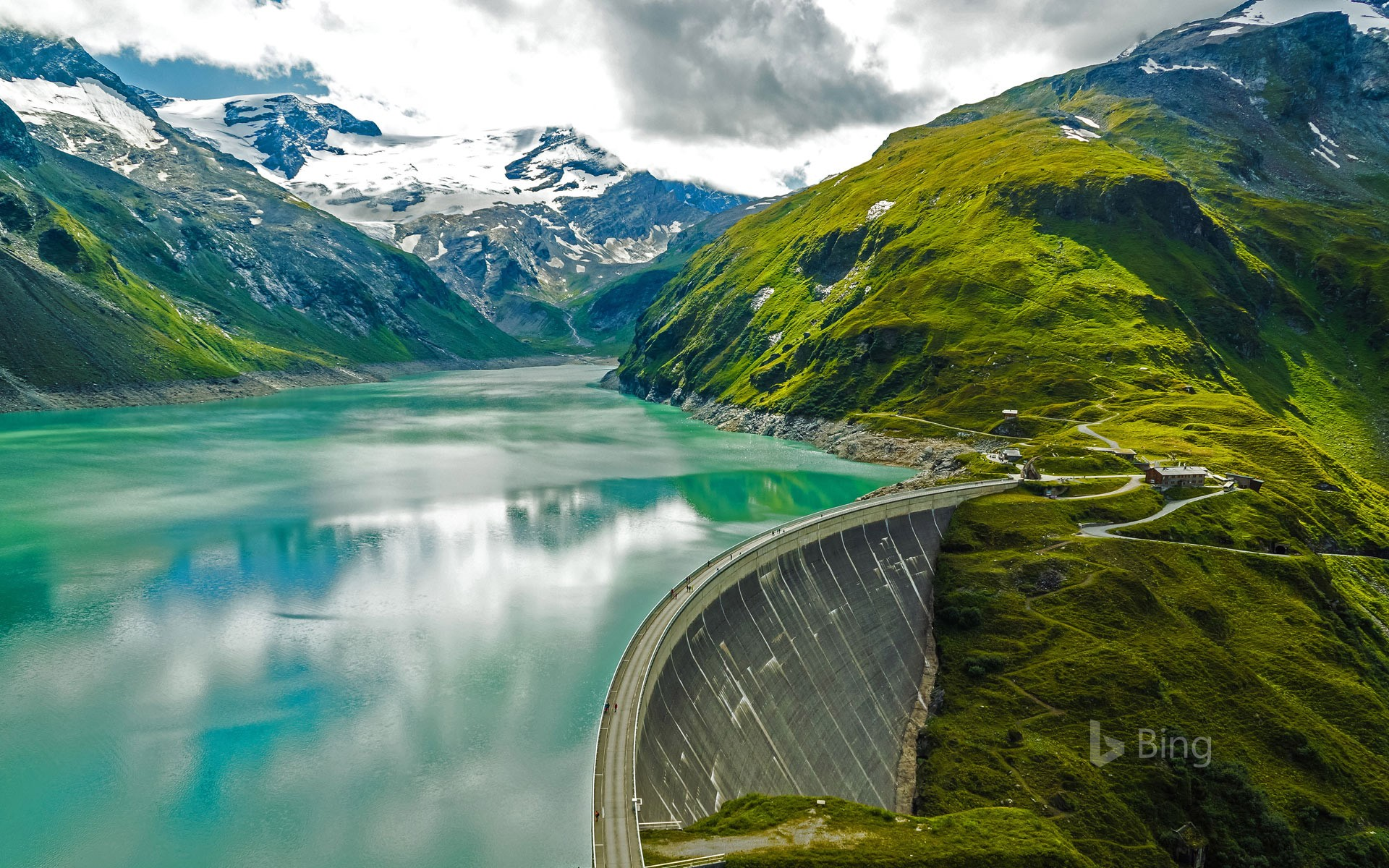 Mooserboden Reservoir and Mooser Dam near Kaprun, Austria