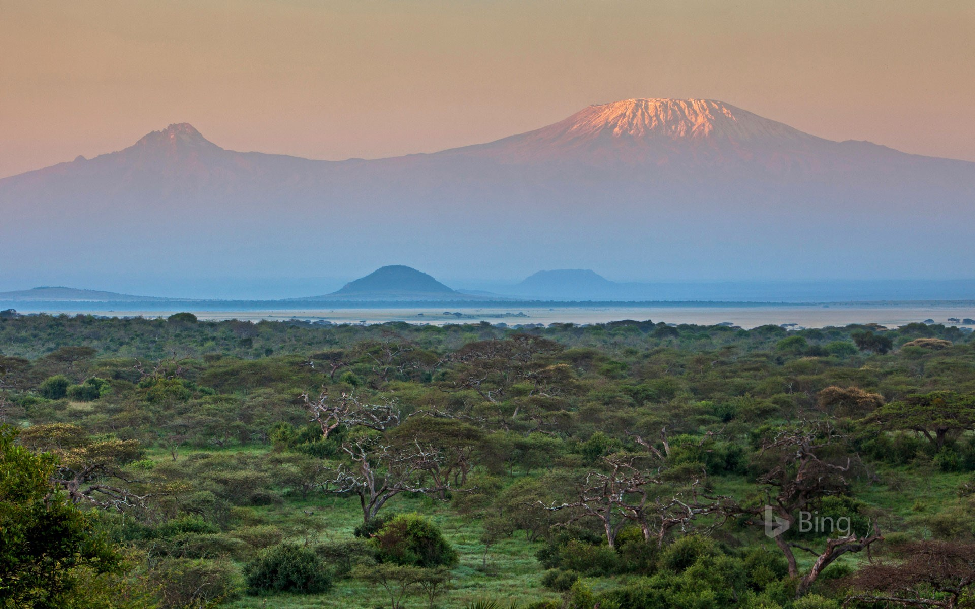 Mount Kilimanjaro seen from Chyulu Hills National Park in Kenya