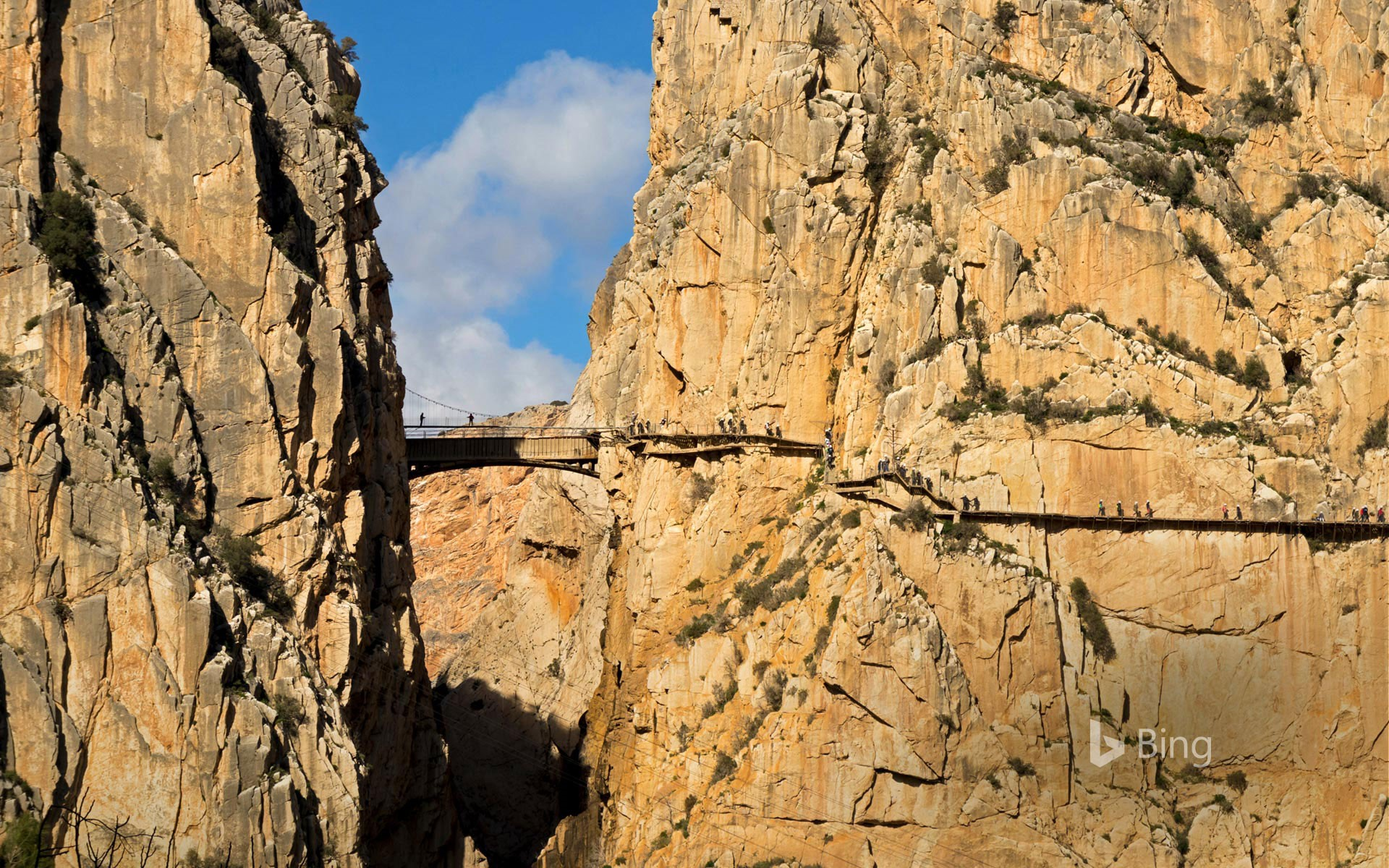 Visitors on El Caminito del Rey in the province of Málaga, Spain