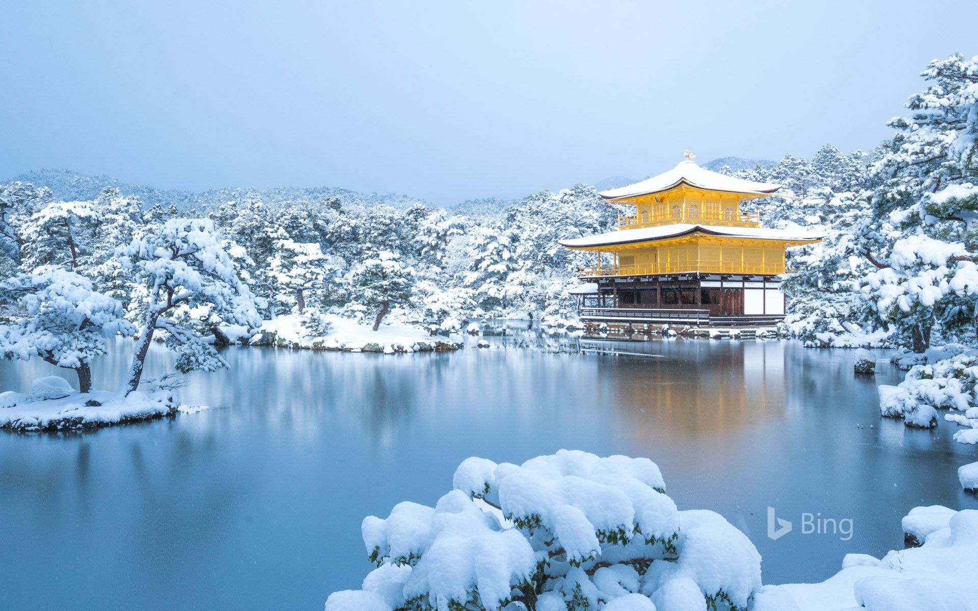 Kinkakuji temple in winter, Kyoto, Japan