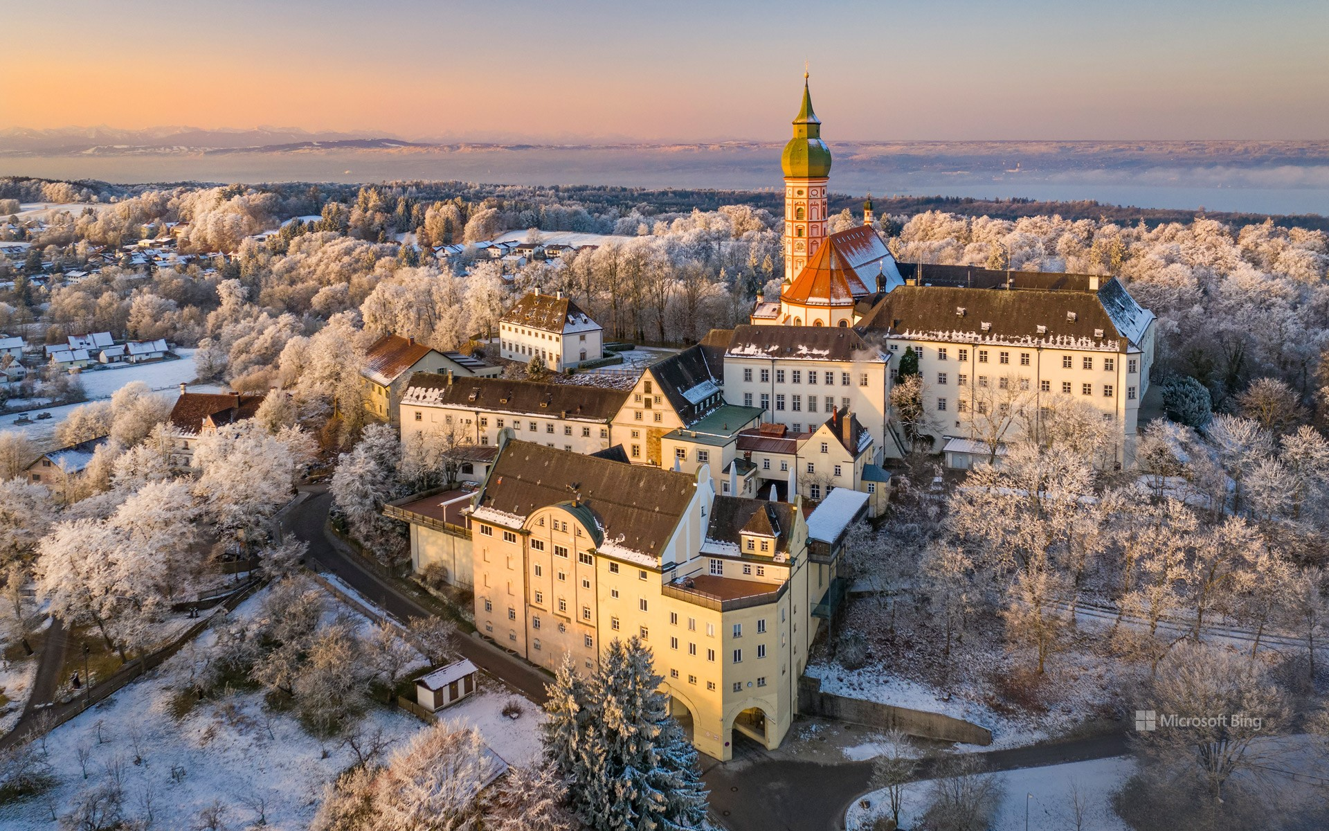 Winter morning mood at Andechs Monastery in Bavaria with a view of the Ammersee