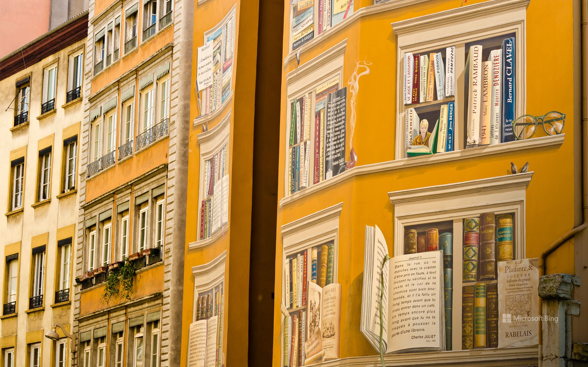 """Fresco """"The library of the city"""" located in the city center of Lyon"""
