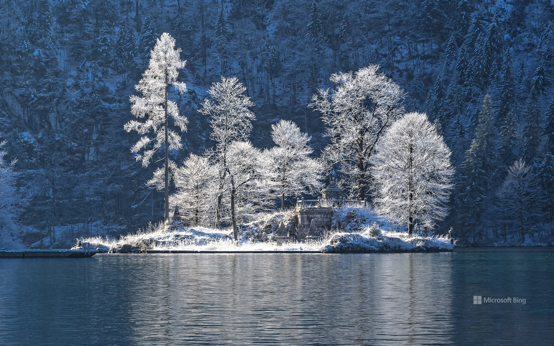 The island of Christlieger in Koenigssee, Bavaria