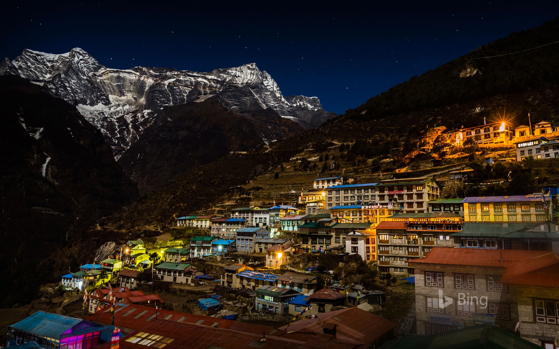 Kongde Ri mountain looms over Namche Bazaar in Sagarmatha National Park, Nepal