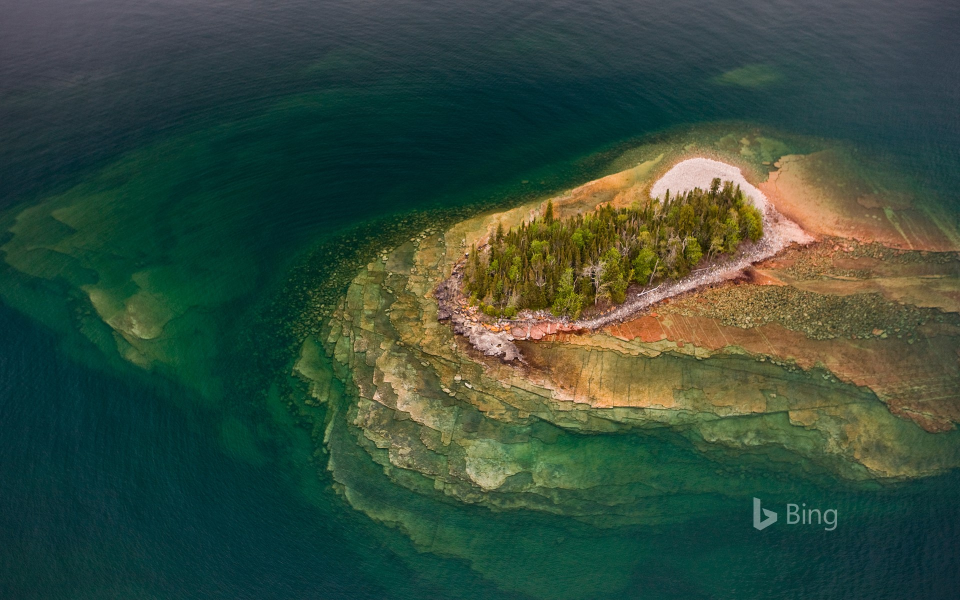 Aerial view of small rocky islands in Lake Superior, Thunder Bay, Ontario, Canada