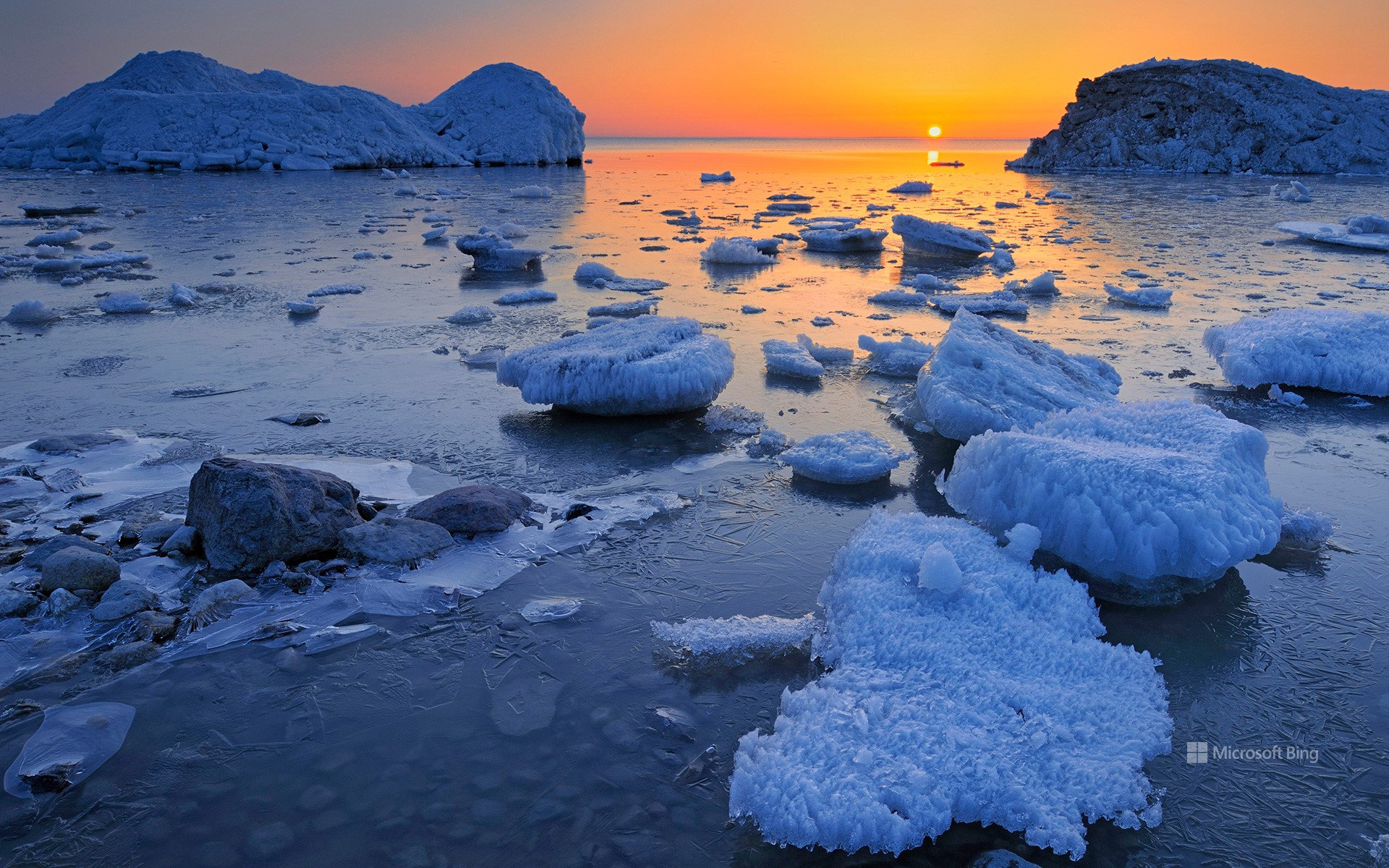Spring ice along the shore of Lake Winnipeg, Manitoba