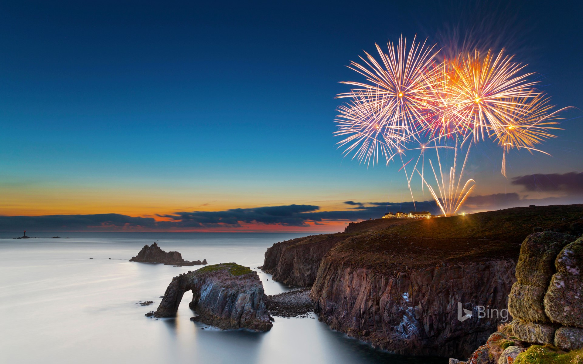 Fireworks at Land's End, Cornwall (© David Chapman/Alamy)