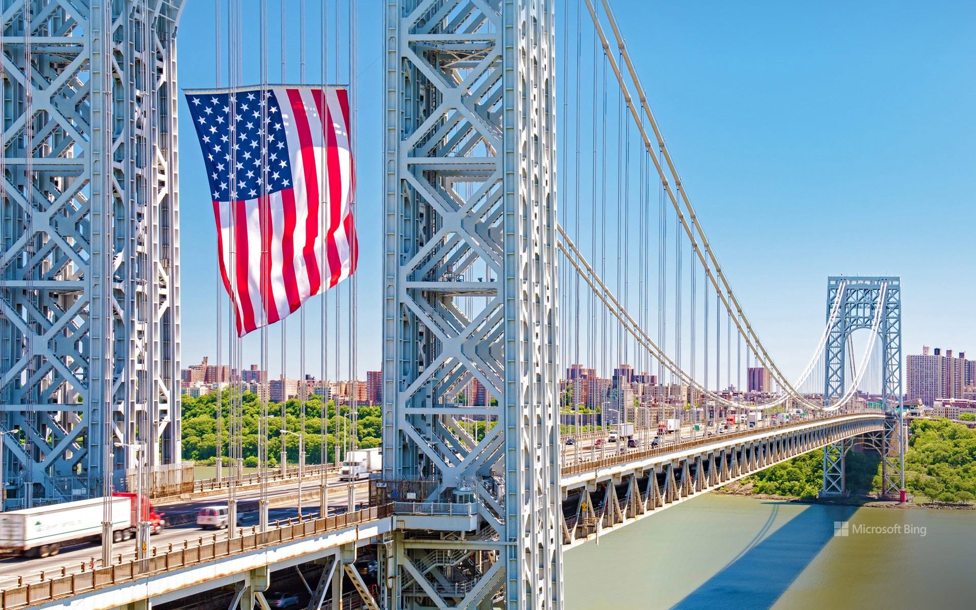 The George Washington Bridge displays the American flag in honor of Flag Day, June 14, 2016, Fort Lee, New Jersey