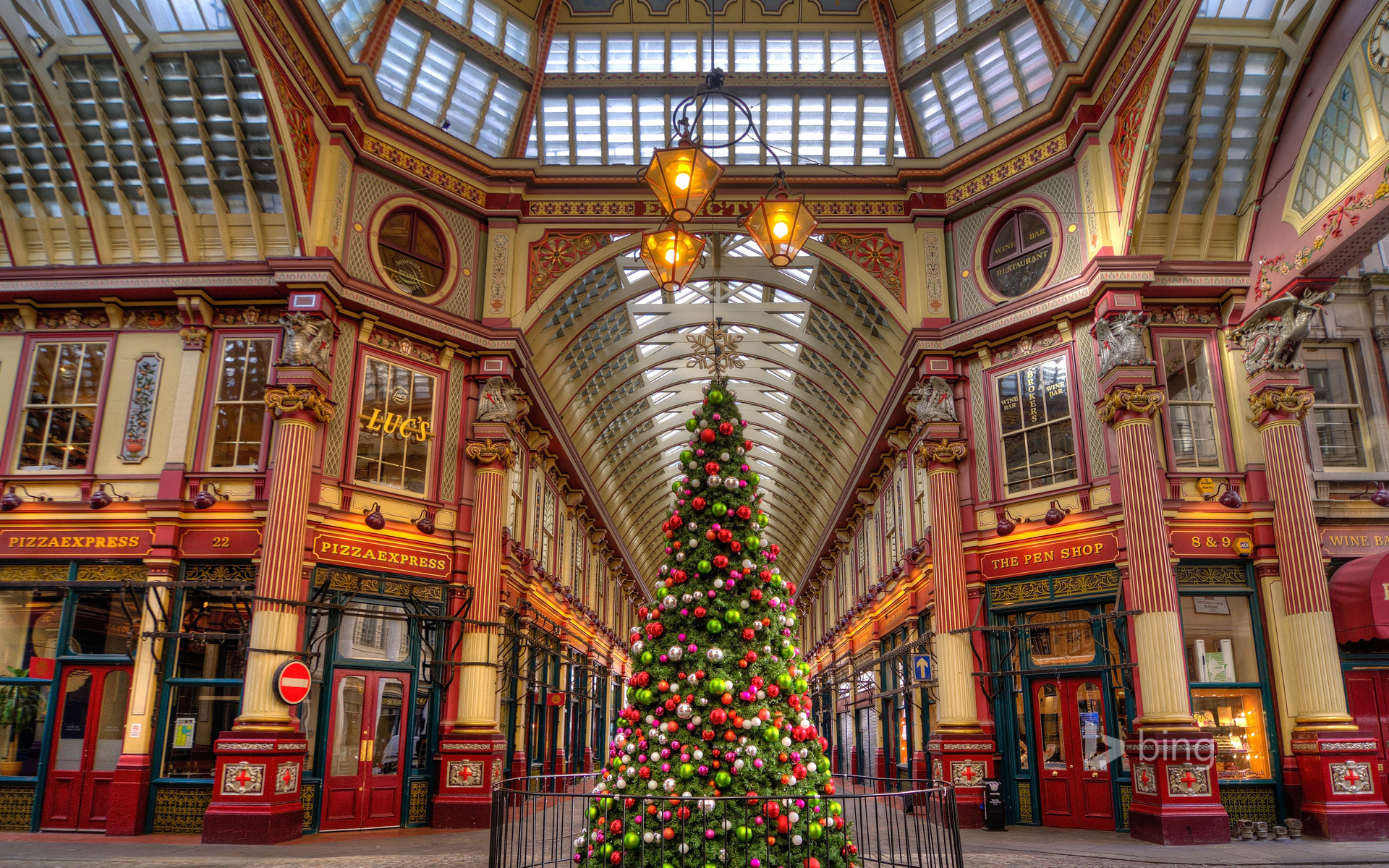 Leadenhall Market decorated for Christmas in London