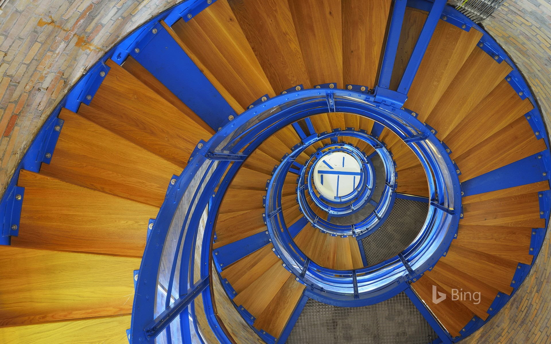 Spiral staircase in the Flügge lighthouse on the island of Fehmarn, Schleswig-Holstein, Germany