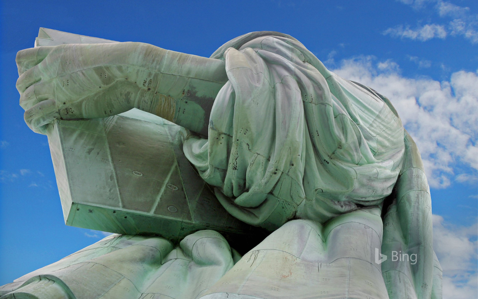 Detail of the Statue of Liberty, on Liberty Island, New York