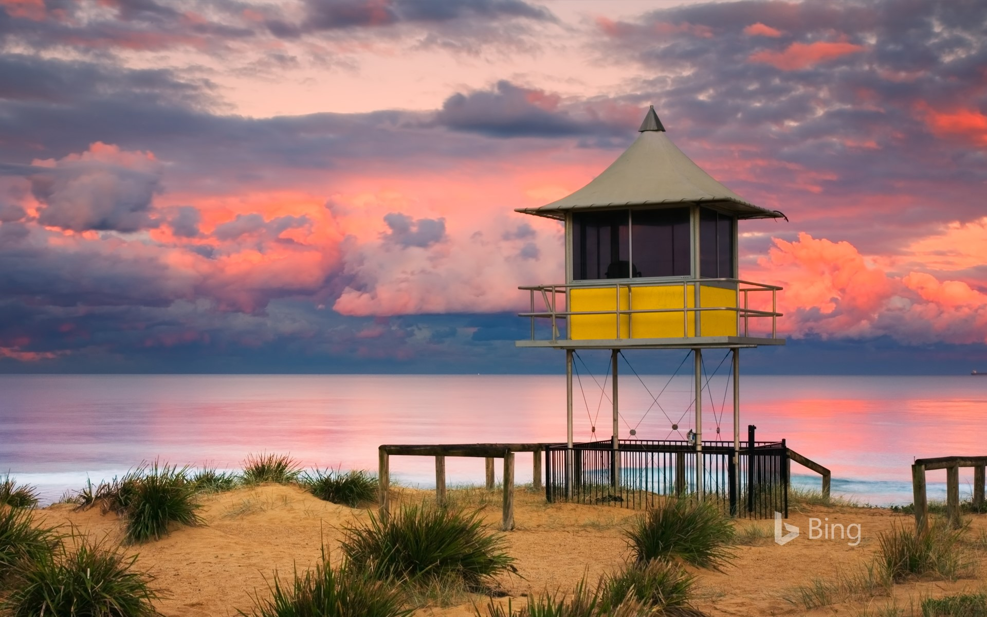 Lifeguard shack at sunset on The Entrance beach, Central Coast, New South Wales, Australia